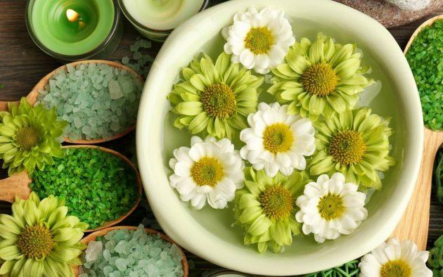 цветы и соль для ванночек